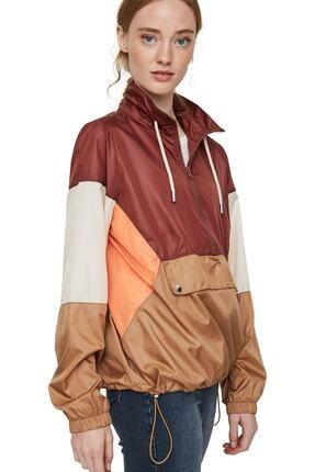 Vero Moda Kadın Bordo Renk Bloklu Büzme Detaylı Kanguru Mont 10224733 VMNANCY 3