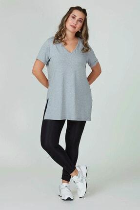 Büyük Moda Kadın Gri V Yaka Basıc Tişört 2