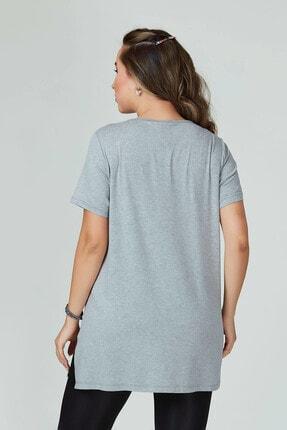 Büyük Moda Kadın Gri V Yaka Basıc Tişört 3