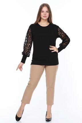 Modayız Kadın Siyah Flok Kol Bluz 0