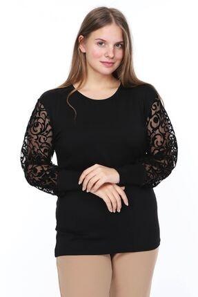 Modayız Kadın Siyah Flok Kol Bluz 1