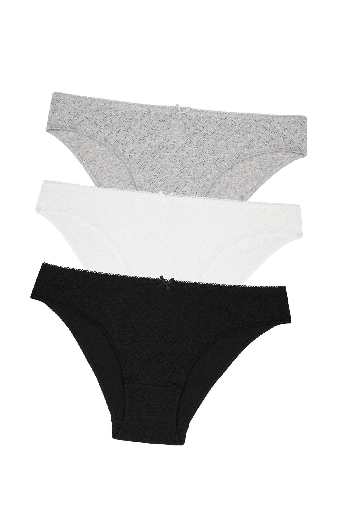 Penti Siyah Beyaz Gri Soft Pointel Basic 3Lü 0