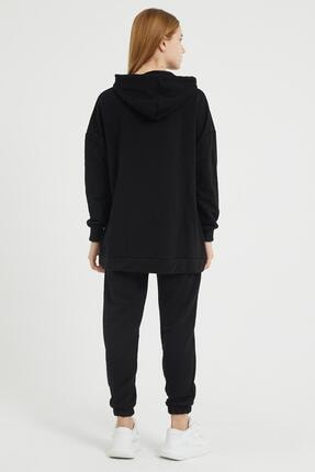 Giyinsende Kanguru Cep Eşofman Takımı Siyah 4
