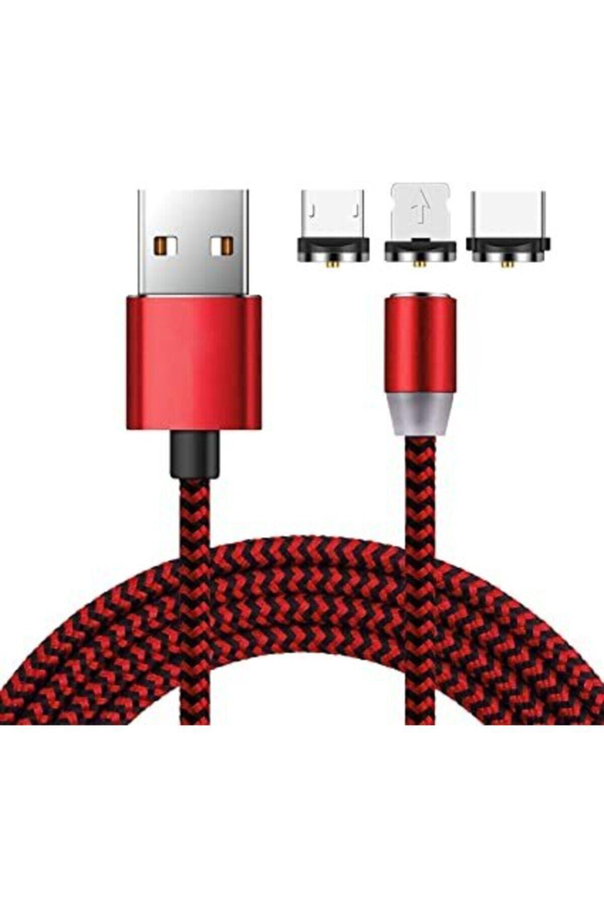 Kırmızı Renk Iphone Samsung Micro Usb Type-c 3 in 1 Mıknatıslı Manyetik Şarj Kablosu