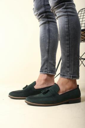 Oksit Erkek Yeşil Püskülü Loafer Ayakkabı 2