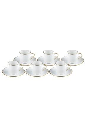 Bambum Beyaz Diva Altin Yaldizli Kahve Fincan Takımı 0
