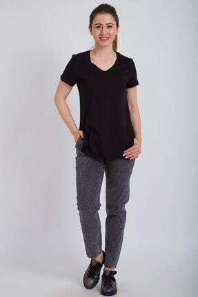 Kadın Modası Kadın Siyah V Yaka Alt Kesik Yırtmaçlı T-shirt 1