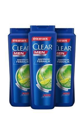 Clear Men Yağlı Saç Derisi Için Maksimum Ferahlık Erkek Şampuan 600 ml X3 1