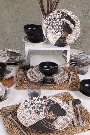 Keramika Afrikalı Kadınlar Yemek Takımı 24 Parça 6 Kişilik - 18111 0