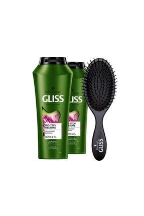 Gliss Bio-tech Güçlendirici Şampuan 500 ml X 2 Adet + Saç Fırçası 0