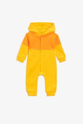 Koton Koton Erkek Bebek Pamuklu Kapüşonlu Çıtçıtlı Sarı Tulum 1knb10441tk 0