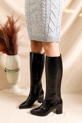 Deripabuc Hakiki Deri Siyah Rugan Kadın Deri Çizme Dp02-0404 1