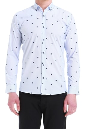 Efor Erkek Mavi Slim Fit Klasik Gömlek Gk 550 0