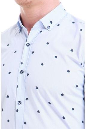 Efor Erkek Mavi Slim Fit Klasik Gömlek Gk 550 3