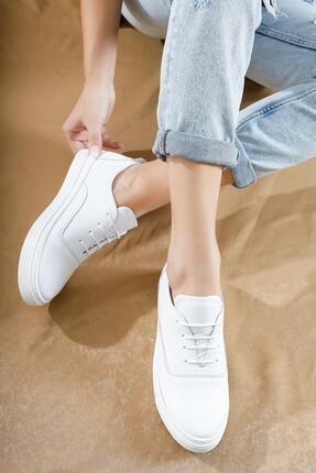 Deripabuc Hakiki Deri Beyaz Kadın Deri Sneaker Vns-m01 0