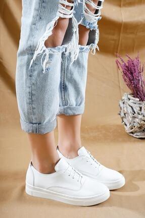 Deripabuc Hakiki Deri Beyaz Kadın Deri Sneaker Vns-m01 2