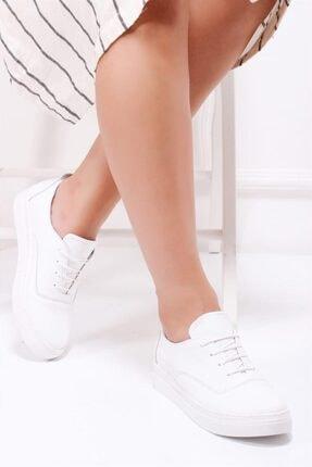 Deripabuc Hakiki Deri Beyaz Kadın Deri Sneaker Vns-m01 4