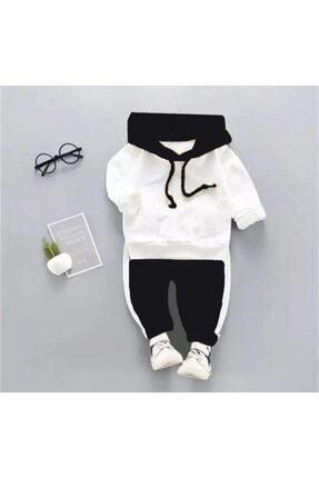 Beren Kids Kapşonlu Siyah Beyaz Bebek Alt Üst Takım 0