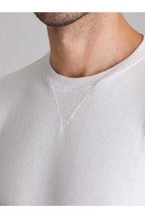 Dufy Erkek Beyaz Düz  Slım Fıt Sweatshirt 1