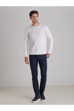 Dufy Erkek Beyaz Düz  Slım Fıt Sweatshirt 2