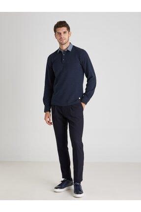 Dufy Erkek Lacivert Polo Yaka Baskılı  Sweatshirt 2