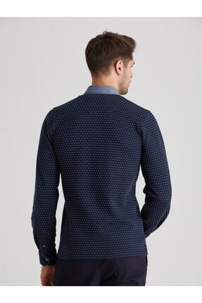 Dufy Erkek Lacivert Polo Yaka Baskılı  Sweatshirt 4