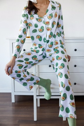 Xena Kadın Beyaz & Yeşil Avokado Desenli Pijama Takımı 1KZK8-11024-78 1