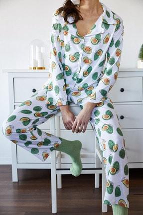 Xena Kadın Beyaz & Yeşil Avokado Desenli Pijama Takımı 1KZK8-11024-78 2