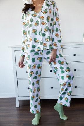 Xena Kadın Beyaz & Yeşil Avokado Desenli Pijama Takımı 1KZK8-11024-78 4