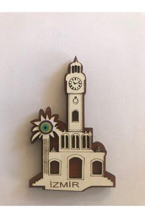 Lazer Ahşap Izmir Saat Kulesi Magnet Buzdolabı Süsü 0
