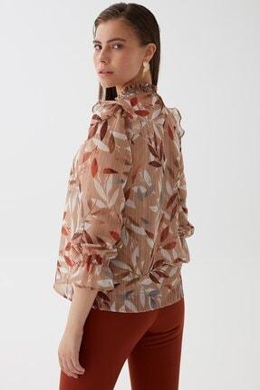 Chima Kadın Taba Yaprak Desenli Bluz K21BL043 3