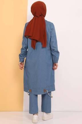 Tesettür Dünyası Kadın Açık Mavi Eteği Büzgü Detaylı Ikili Kot Takım Tsd0450 4