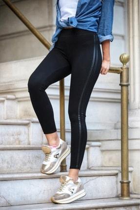 Grenj Fashion Siyah Yanı Iki Deri Şeritli Yüksek Bel Toparlayıcı Tayt 2
