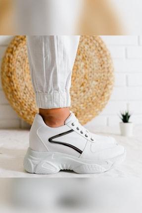Limoya Kadın Beyaz Gümüş Detaylı Bağcıklı Gizli Topuklu Sneakers 2