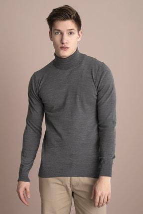 Tena Moda Erkek Füme Melanj Tam Balıkçı Yaka Basic Triko Kazak 1