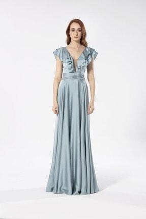 Maxxe Kadın Yeşil Valonlu Saten Elbise 0