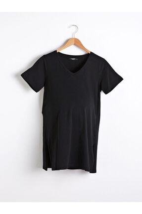 LC Waikiki Kadın Siyah V Yaka Tişört 0
