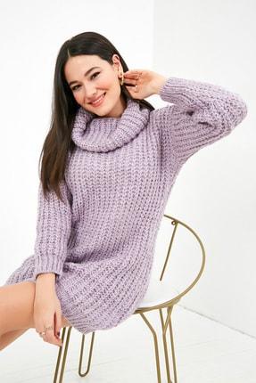Sateen Kadın Lila Balıkçı Yaka Örme Triko Elbise  STN503KTR133 4