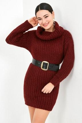 Sateen Kadın Bordo Balıkçı Yaka Örme Triko Elbise  STN503KTR133 2