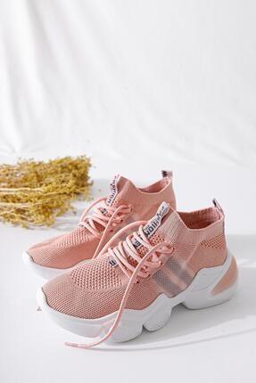 Limoya Kadın Pudra Triko Strech Sneaker 3