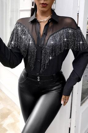 BLACK&GRACE Kadın Siyah Püsküllü Selanik Kumaş Gömlek 1