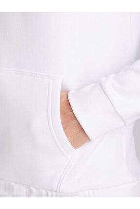 Dufy Beyaz Içi Polarlı Kapüşonlu Erkek Sweatshırt - Modern Fıt 3