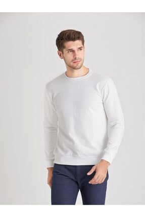 Dufy Beyaz Düz Erkek Sweatshırt - Modern Fit 0