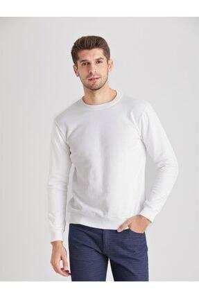 Dufy Beyaz Düz Erkek Sweatshırt - Modern Fit 2