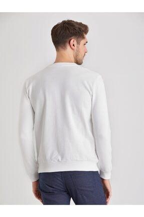 Dufy Beyaz Düz Erkek Sweatshırt - Modern Fit 3