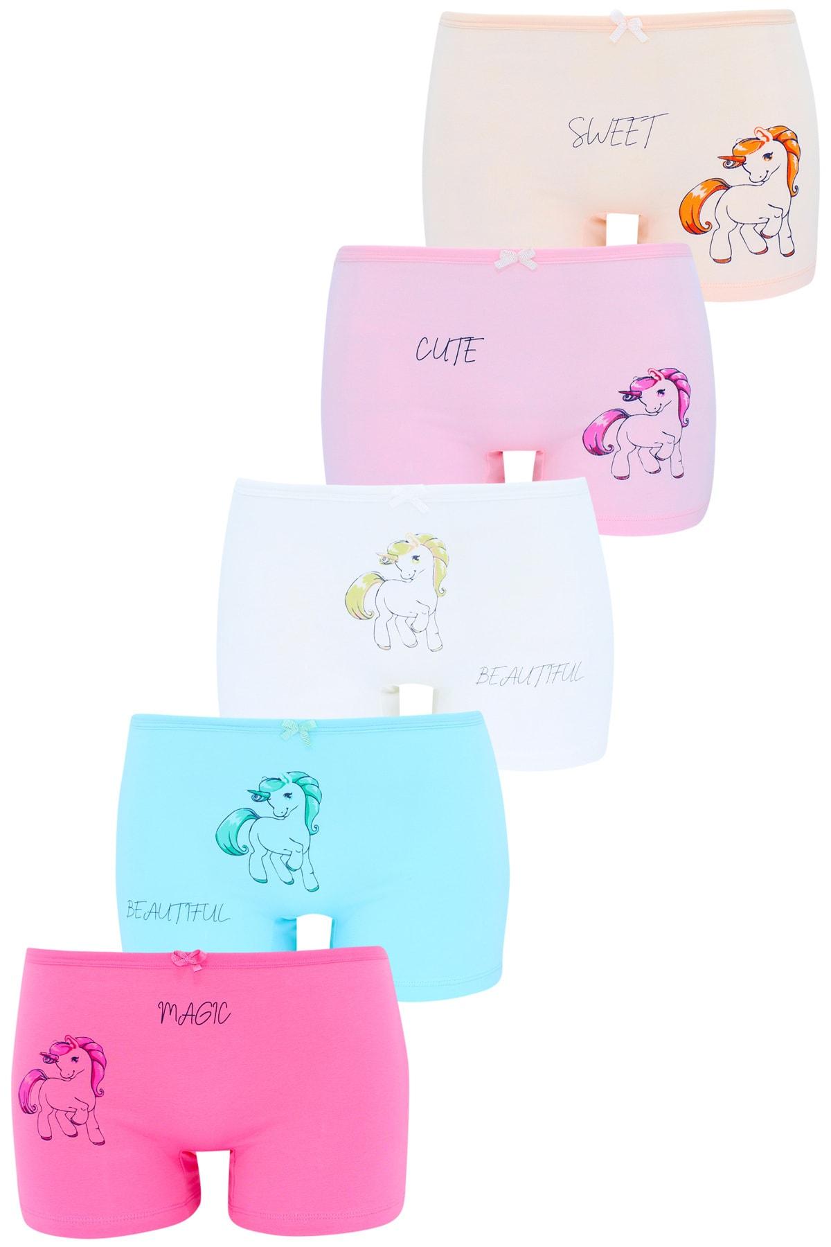 Kız Çocuk Boxer 5 Li Paket Karışık Renk Unicorn Baskılı Boxer
