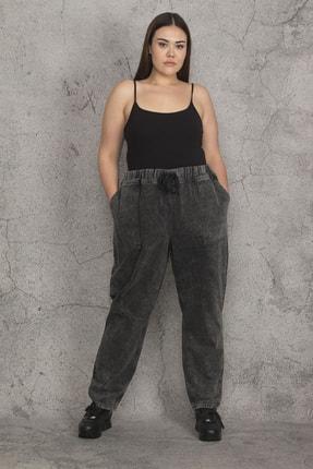 تصویر از Kadın Antrasit Kar Yıkama Efektli Beli Lastik Ve Bağcık Detaylı Dıştan Cepli Kot Pantolon 65N21983
