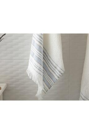 English Home Retro Çizgili 2'li Banyo Havlusu Takımı 50X85Cm + 70X150Cm Ekru - Mavi 1