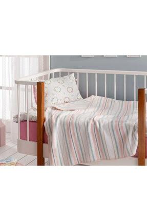 English Home Softy Stripe Pamuklu Bebe Battaniye 100x120 Cm Pembe 0