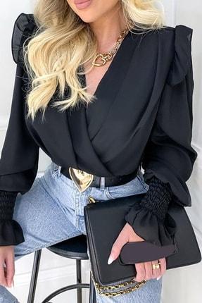 BLACK&GRACE Kadın Siyah Vatkalı Saten Krep Kolları Gipeli Gömlek 0